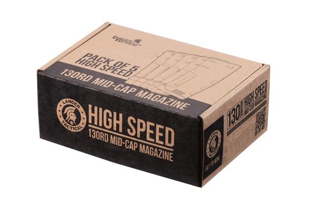 CLK9021-2 Pack of 5 Speed Mid-cap 130 rounds M4 AEG mag Black - CLK9021
