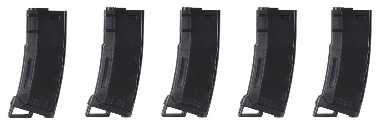 CLK9021 Pack of 5 Speed Mid-cap 130 rounds M4 AEG mag Black - CLK9021