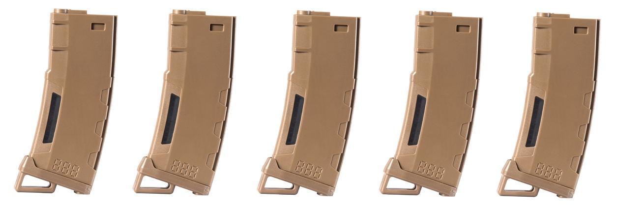 CLK9023 Pack of 5 Speed Mid-cap 130 rounds M4 AEG mag Tan - CLK9023